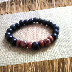 Black and Brown Men's Wooden Bracelet by KaySahai Designs