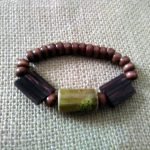 Brown Wooden and Clay Beaded Bracelet