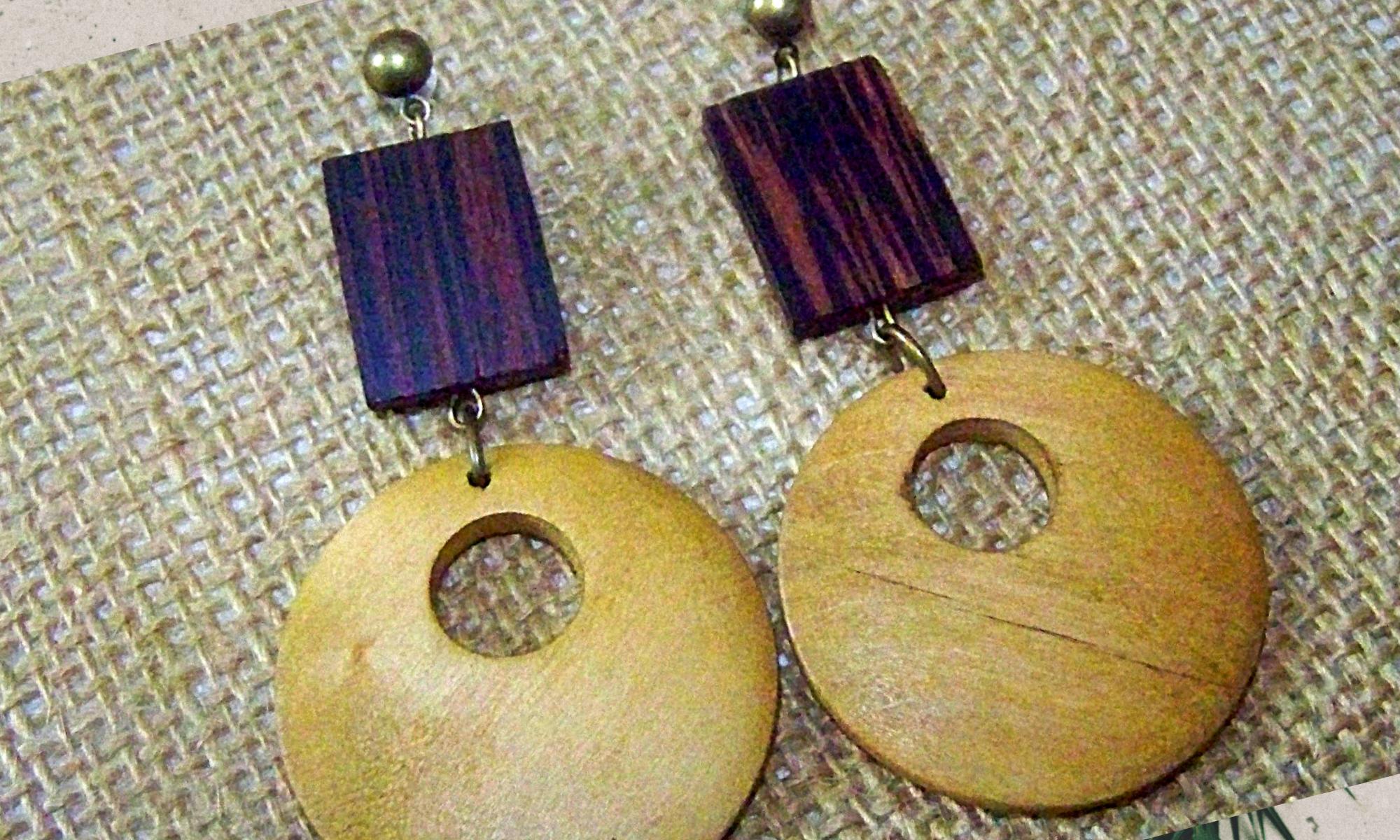 Wooden Dougnut Style Earrings by KaySahai Designs