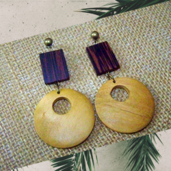Wooden Dougnut Style Earrings by KaySahai Designs
