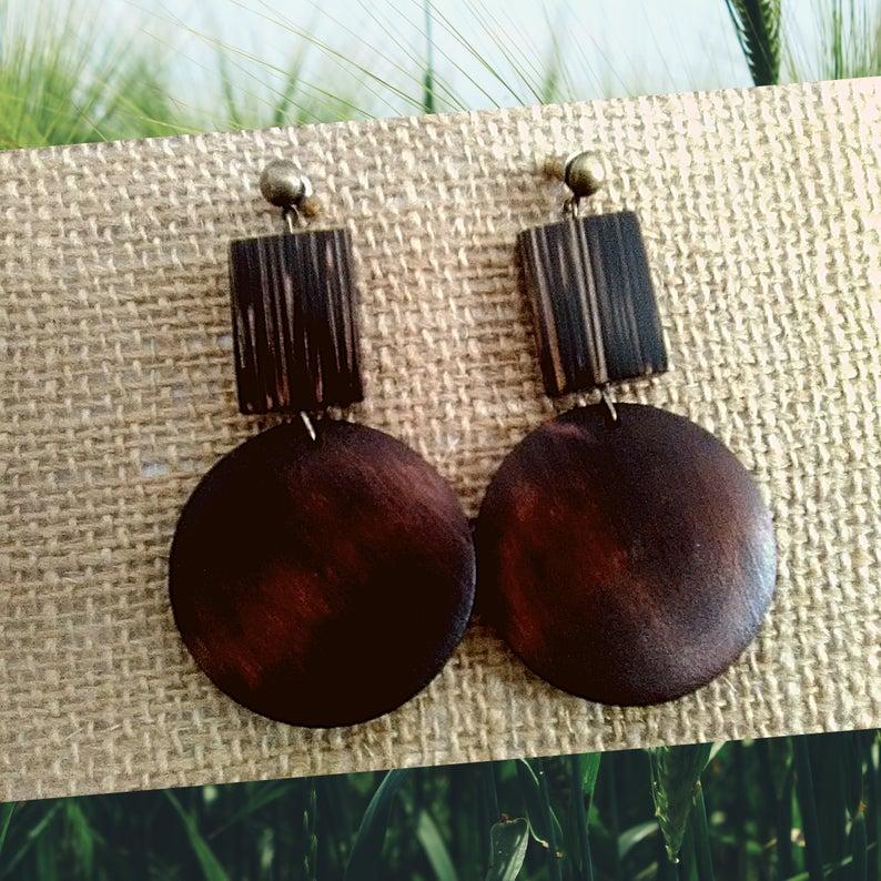 Dark Brown Wooden Earrings by KaySahai Designs