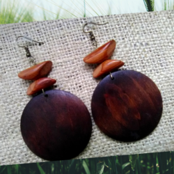 XLarge Dark Brown Wooden Earrings by KaySahai Designs